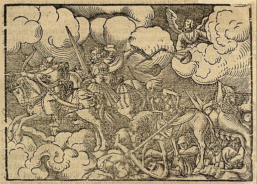 Grafika jeźdźców apokalipsy zBiblii Leopolity.